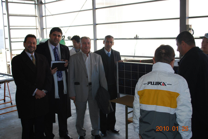 Iraqi government engineers visited Tokyo on 2010 .01.26 to inspect our solar panels workshop .