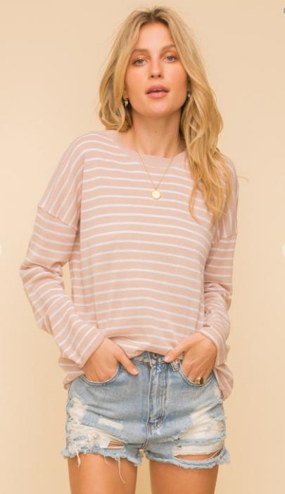Sand and Sky Pin Stripe Sweater