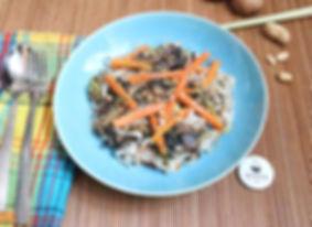 Nouilles de riz, légumes de saison sautésà la citronnelle