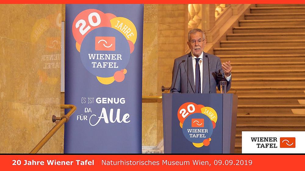 20 Jahre Wiener Tafel - Naturhistorisches Museum - Bundeskanzler Prof. Dr. Alexander Van der Bellen 09.09.2019