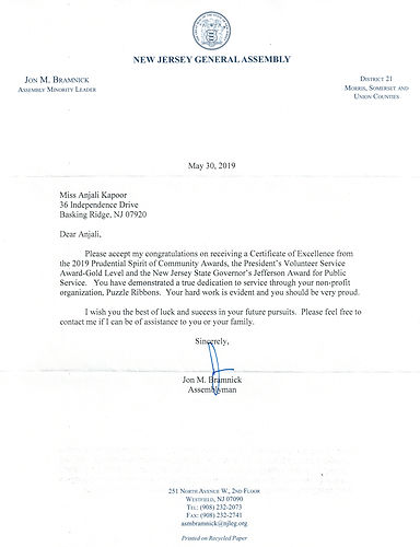 Letter from NJ Assembly