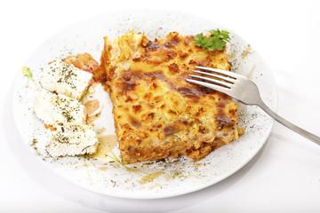 pastitsio a delicious greek pasta dish, served with feta cheese.