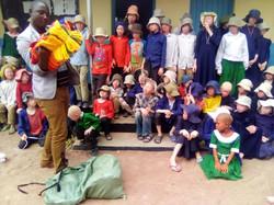 Pastor Titus distributes blankets