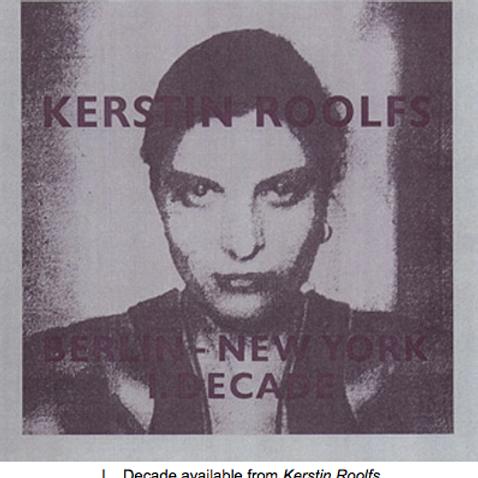 Kerstin Roolfs Berlin - New York  I. Decade