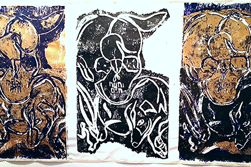 linocut, ink on canvas, 62 x 118 inches