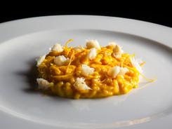 risotto alla zucca, baccalà mantecato e scorza d'arancia