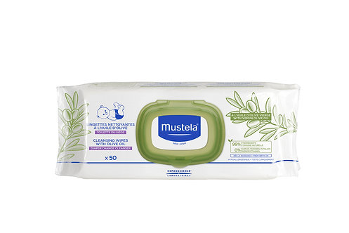 Mustela Cleansing Wipes and Olive Oil for Nappy Change (50 wipes)