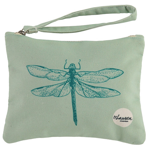 dragonfly ocean green clutch