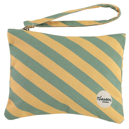 we are stripes sunny yellow/green clutch