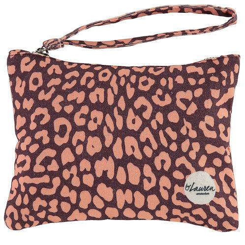 leopard only burgundy clutch