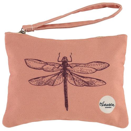 dragonfly vintage pink clutch