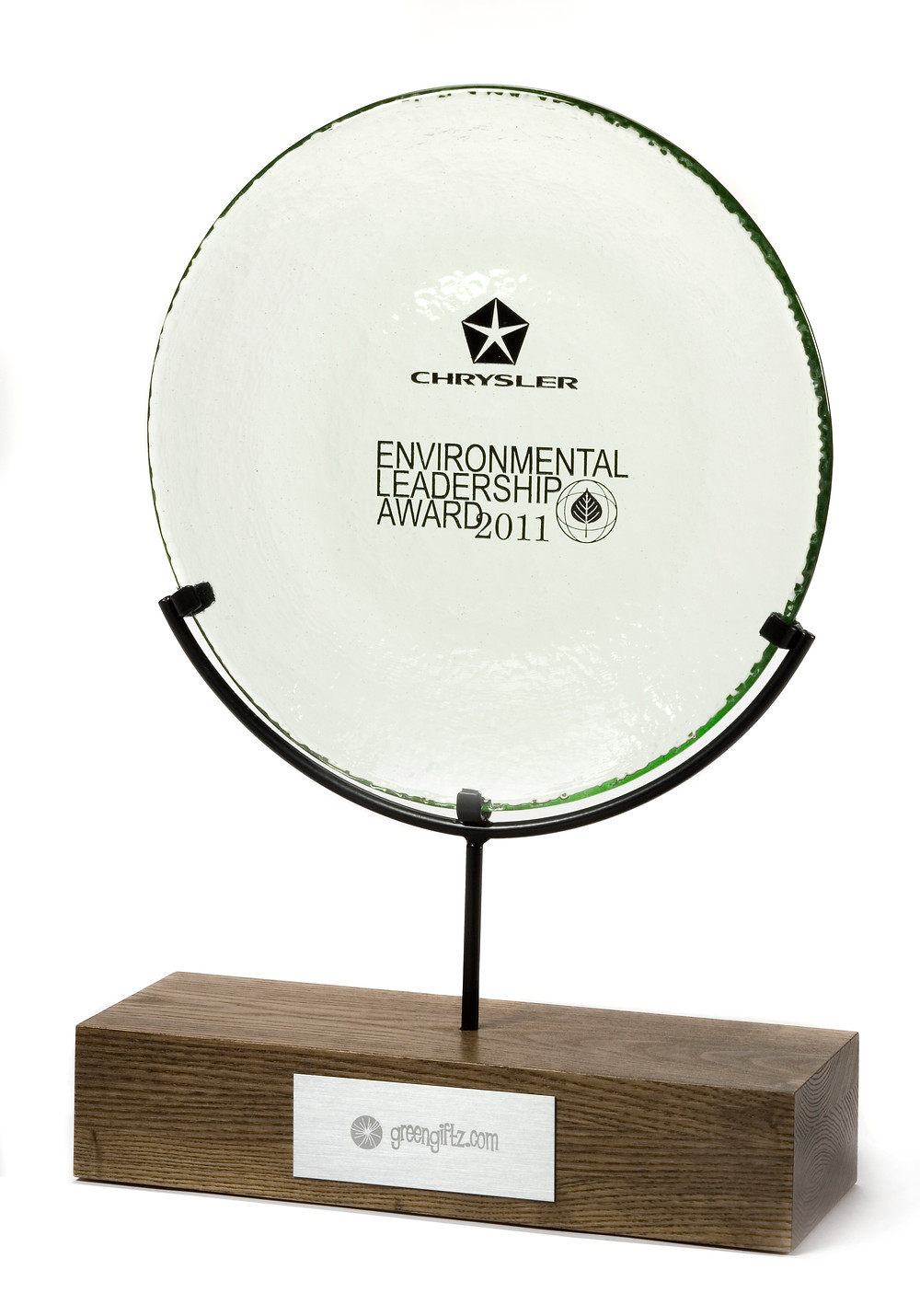 eco-friendly award made of recycled wood