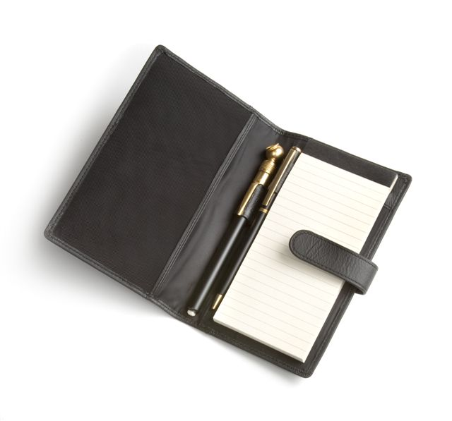 leather portfolio with company logo
