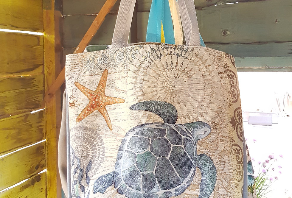 KABA, le sac cabas jacquard - Modèle Tortue de mer