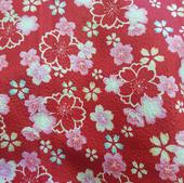 TI-26 Tissu japonais rouge fleuri