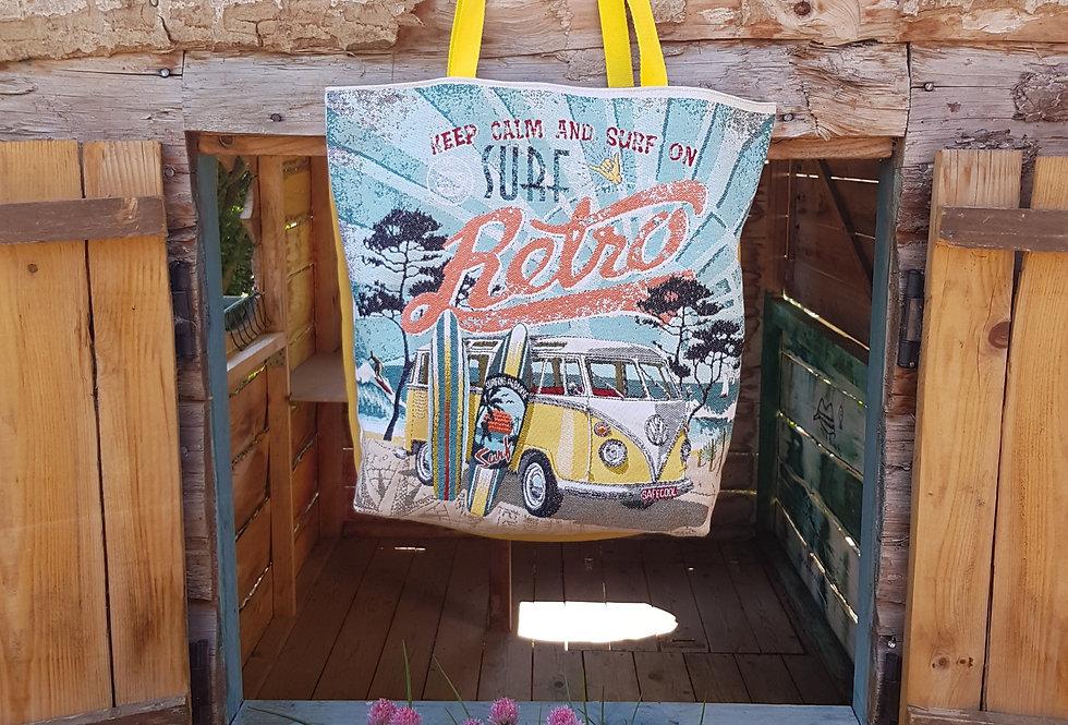 KABA, le sac cabas jacquard - Modèle Rétro jaune