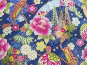 TI-24 Tissu japonais fleuri fond bleu