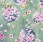 TI-20 Tissu japonais vert amande fleuri