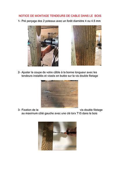 NOTICE DE MONTAGE TENDEUR DE CABLE BOIS-