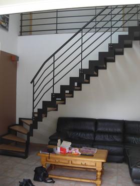 escalier double limon cremaillere peint.