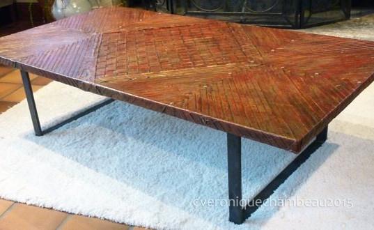 table basse fer plat