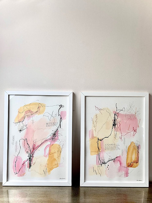 A3 Framed Autumn Abstract Duo (Includes Frames)