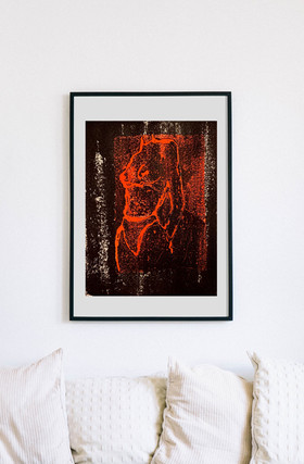Black and Red Monoprint