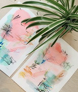 Pinks and Green Abstract Duo