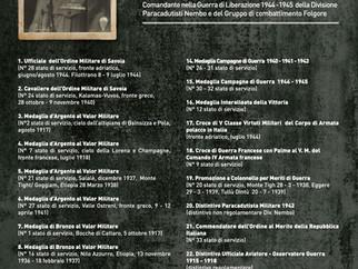 Il Medagliere del Generale Giorgio Morigi Comandante della Div. Par. Nembo e del Gruppo di Combattim