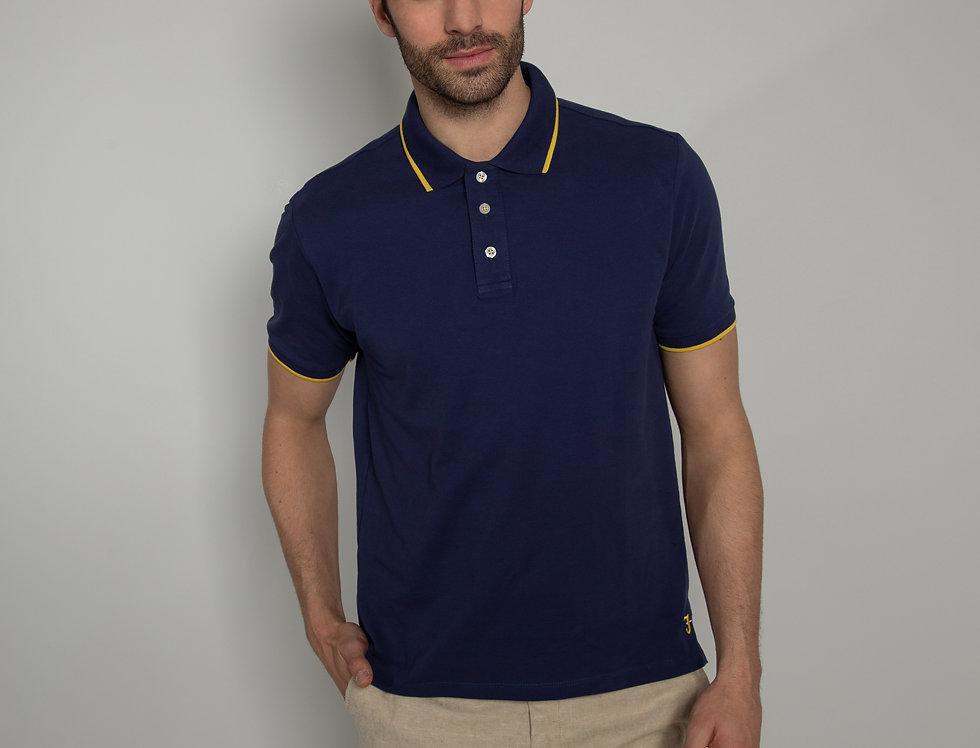 Polo in piquet - blu con profili gialli