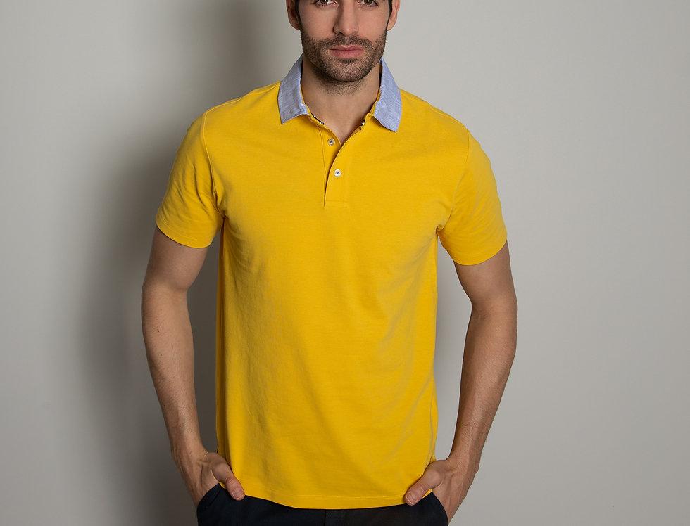 Polo in piquet - gialla colletto a righe bianco e azzurro
