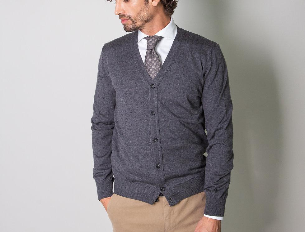 Cardigan 100% lana grigio ferro