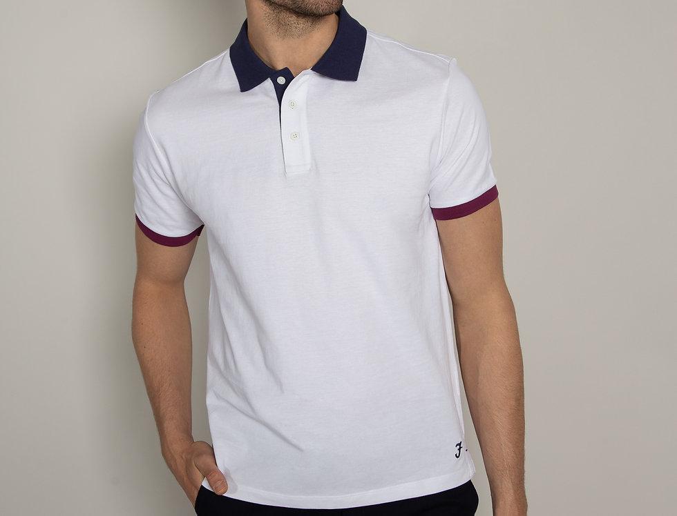 Polo in piquet - bianco con colletto a contrasto