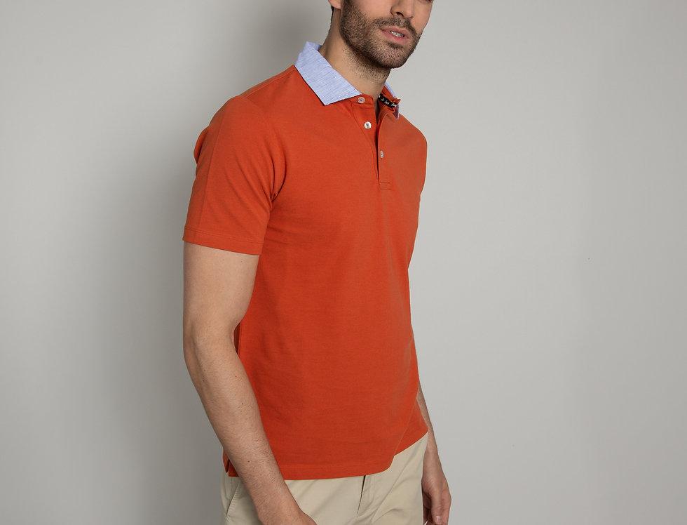 Polo in piquet - arancione colletto a righe bianco e azzurro