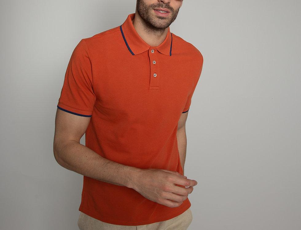 Polo in piquet - arancione con profili blu