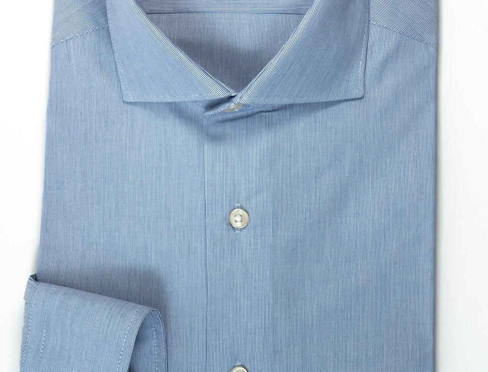 Camicia Custom collo francese bacchettato blu medio