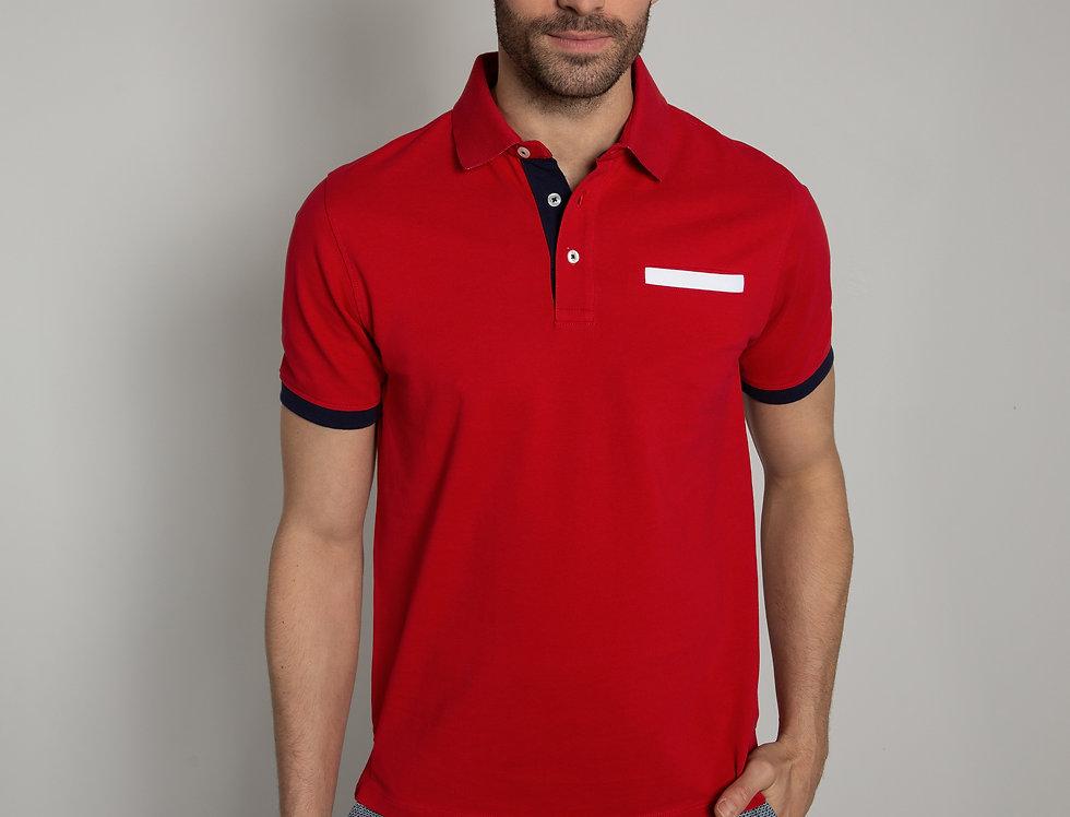 Polo in piquet - rosso con taschino a contrasto