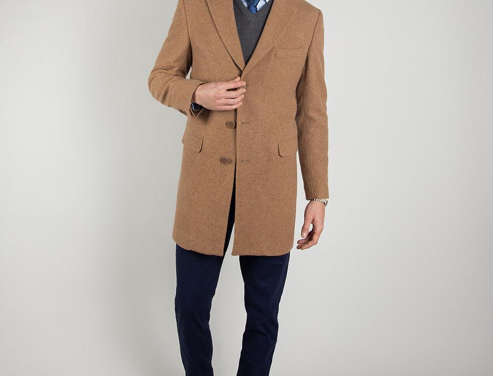 Cappotto in pura lana Biellese 3 bottoni cammello
