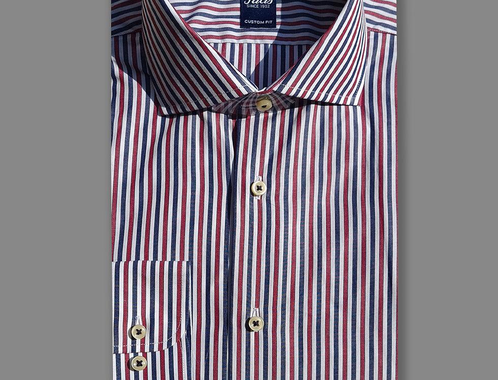 Camicia in puro cotone a righe bianco/blu/bordeaux