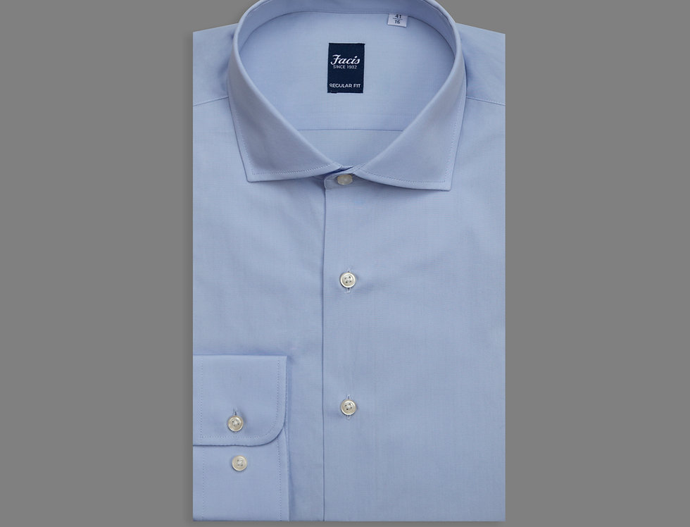 Camicia in popeline di puro cotone azzurro