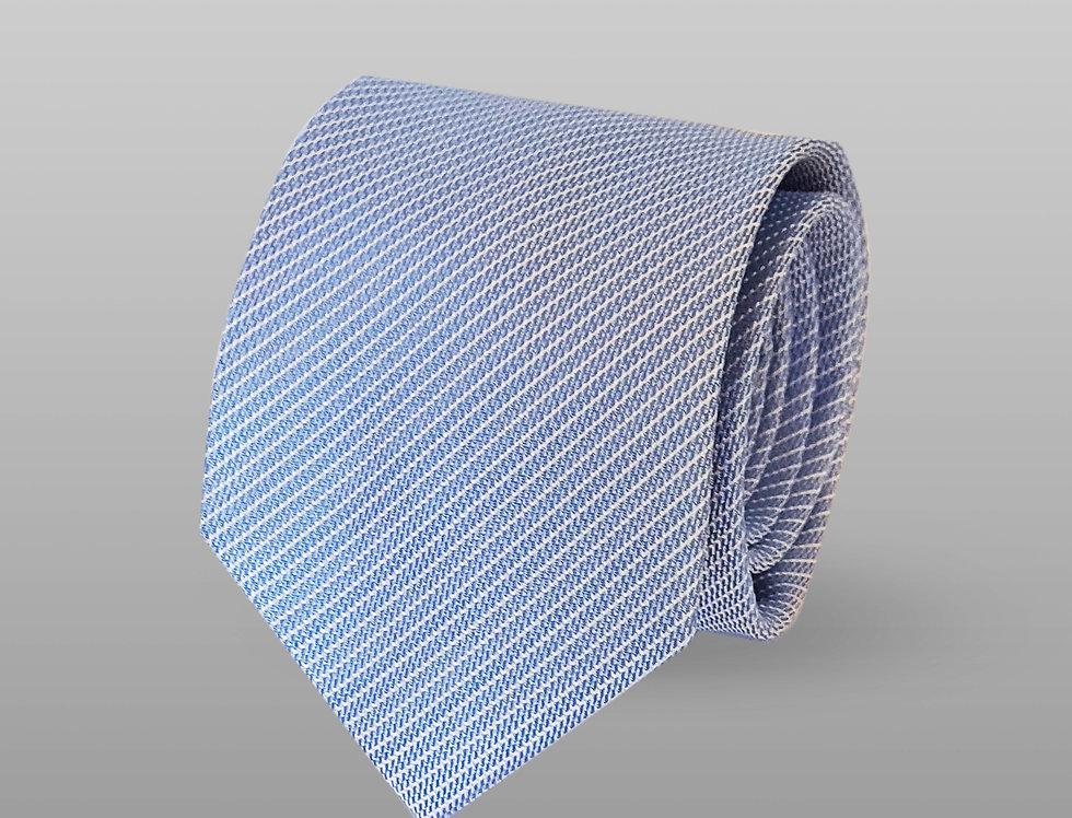 Cravatta misto seta a righe celeste