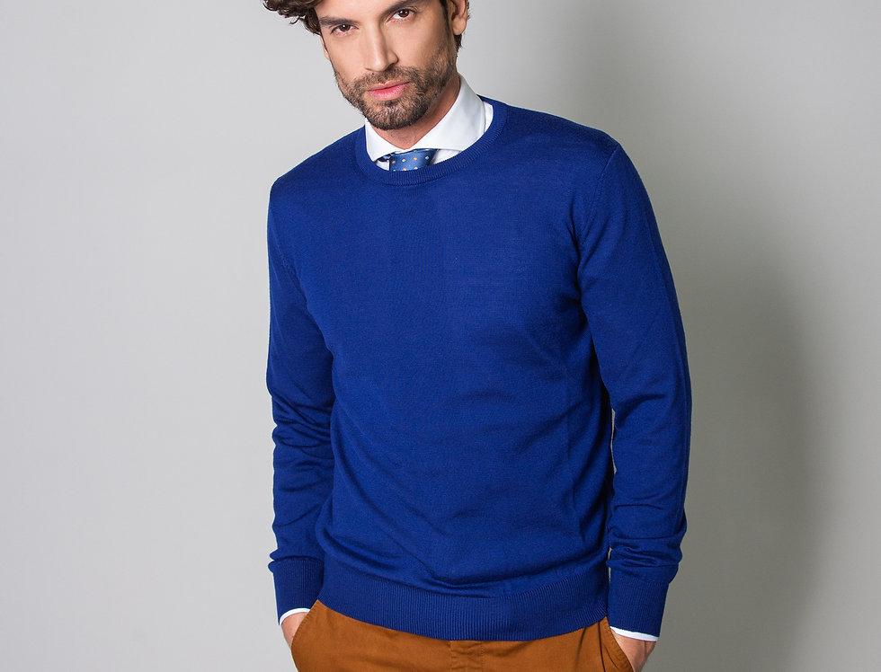Girocollo 100% lana blu royal
