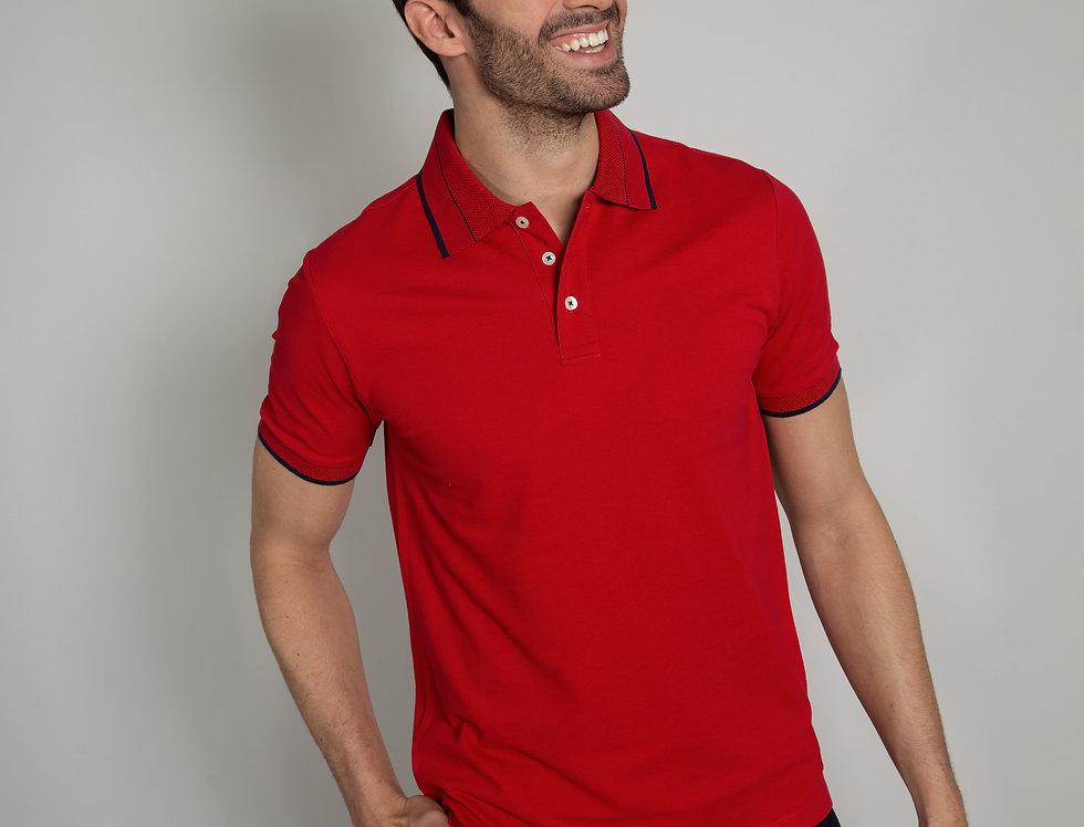 Polo in piquet - rosso con profili blu