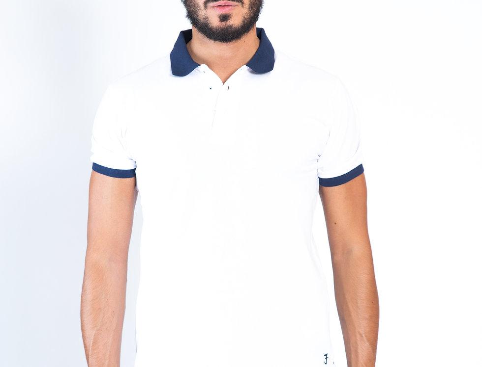Polo bianca in piquet cotone con profili blu