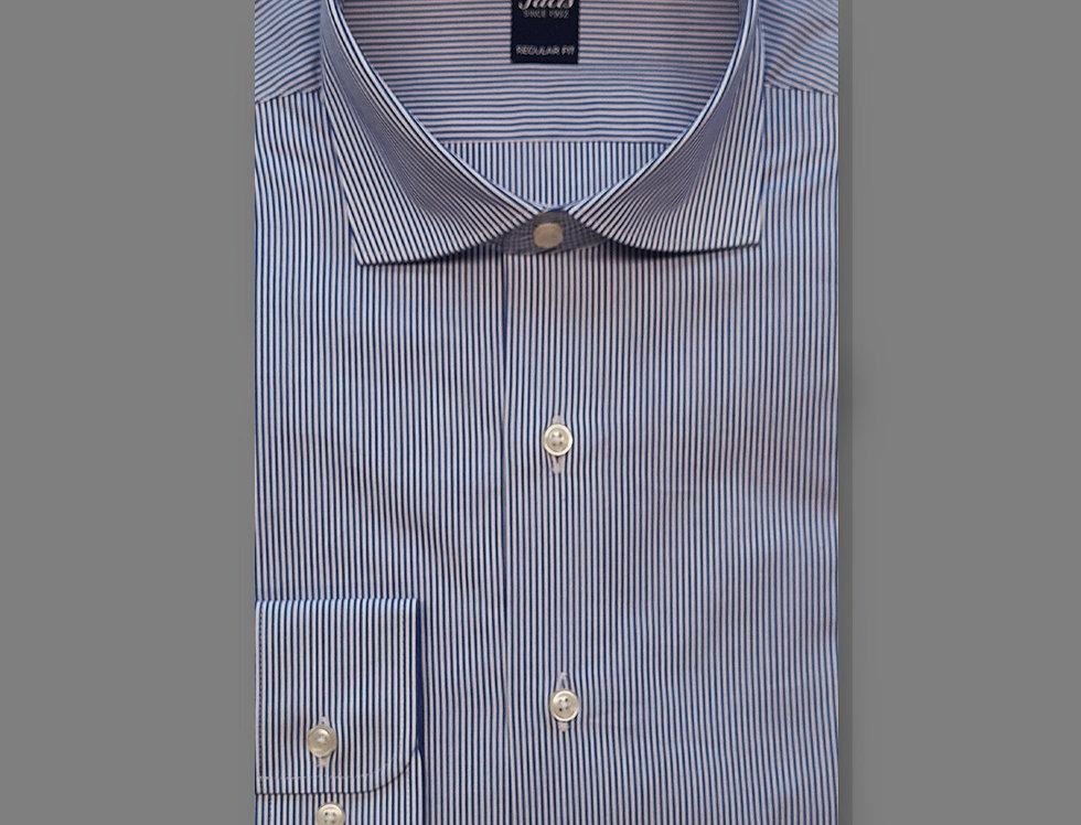 Camicia Popeline bacchettato blu medio