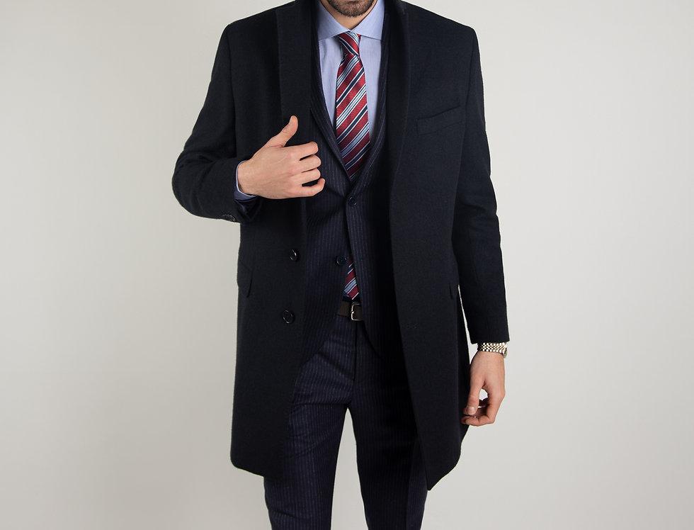 Cappotto in pura lana Biellese blu navy