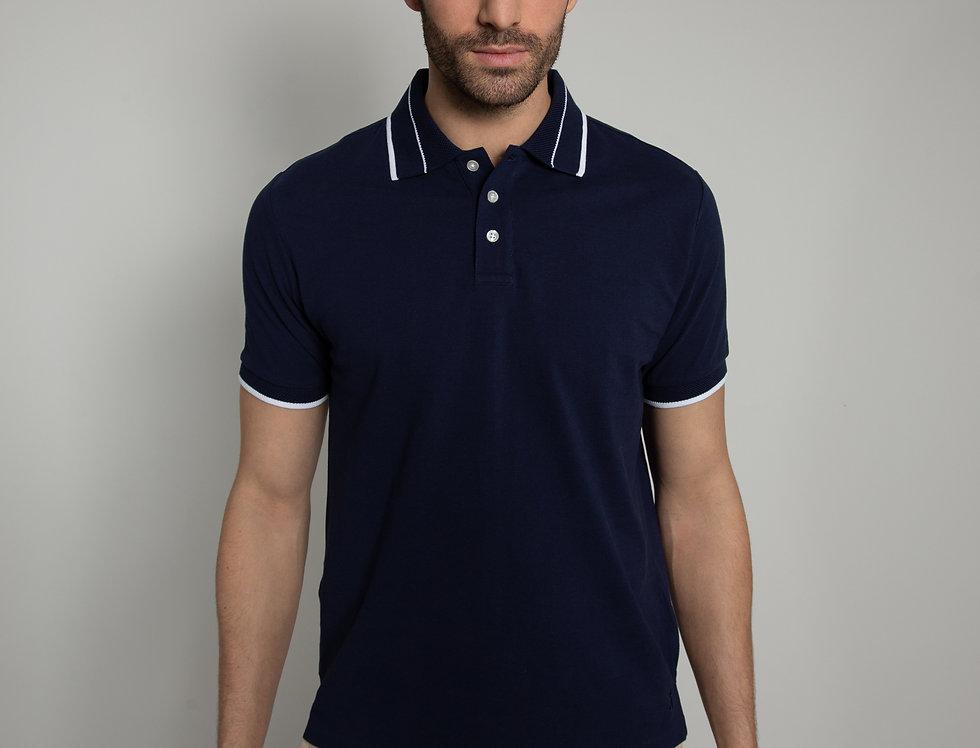 Polo in piquet - blu con profili bianchi