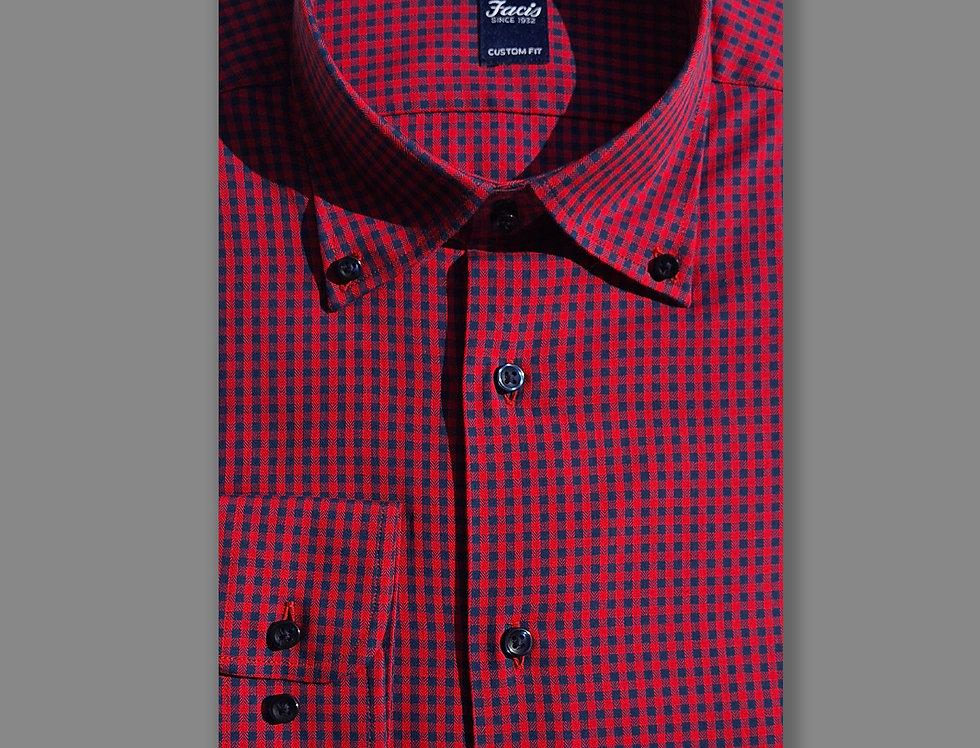 Camicia button down quadri in flanella blu/rosso