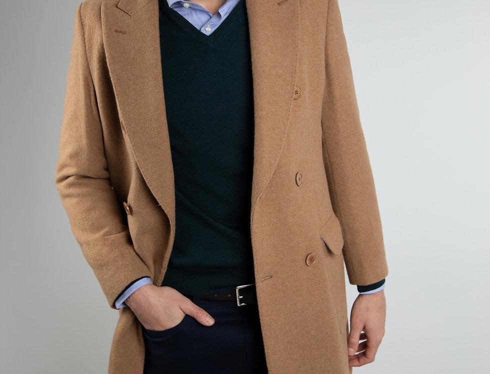 Cappotto in pura lana Biellese doppiopetto cammello