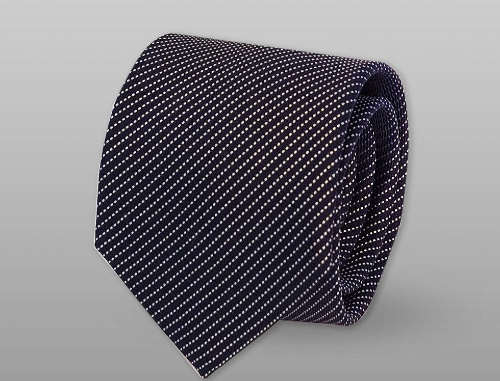 Cravatta misto seta a righe blu notte